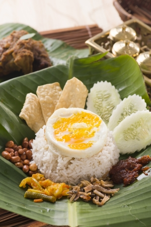 nasi lemak, traditional malaysia food with backgrounds   photo
