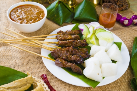 singapore culture: satay malay hari raya foods ,focus on the meat