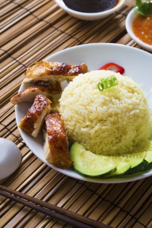 chicken rice: singapore chicken rice , traditional singaporean food with items as background