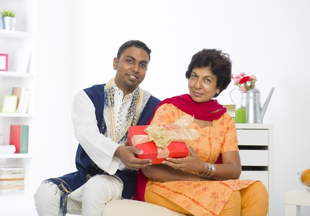 dhoti: punjabi family mother and son with lifestyle setting Stock Photo