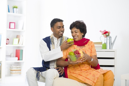 dhoti: healthy punjabi family mother and son with lifestyle setting