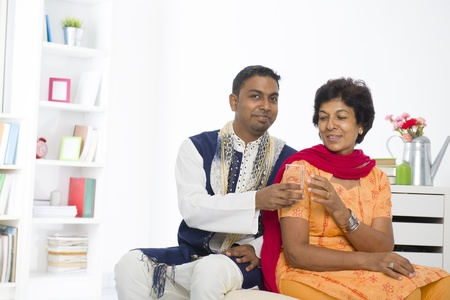 salwar: punjabi family mother and son with lifestyle setting Stock Photo