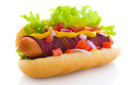 bacon hot dog isolated in white background photo