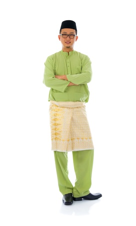 male costume: indonesian male during ramadan  aidilfitri  festival with isolated white background   Stock Photo