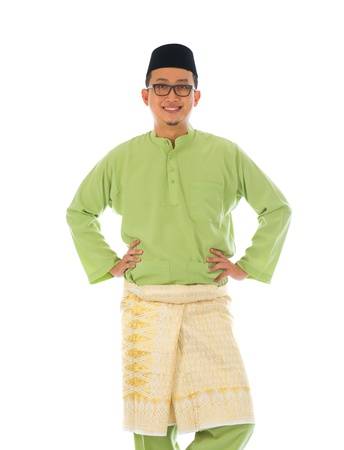 south asian ethnicity: indonesian male during ramadan festival with isolated white background