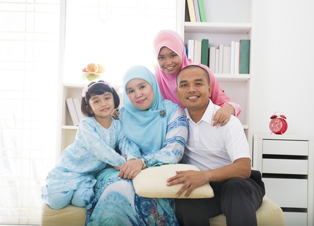 muslim malays family Indoor portrait    photo