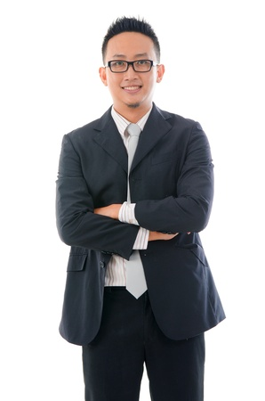working class: confident looking malay business man isolated on white background