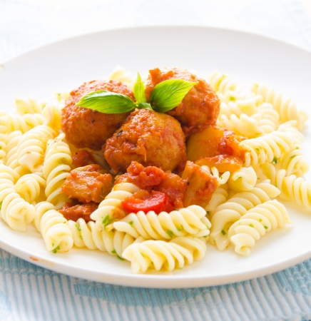 penne: penne pasta with meatballs   Stock Photo