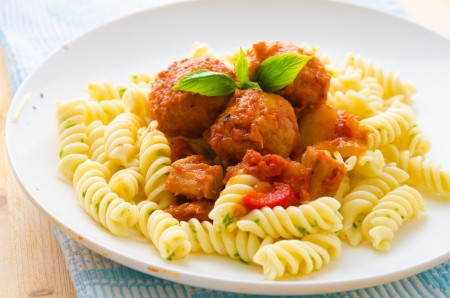 penne pasta with meatballs   photo