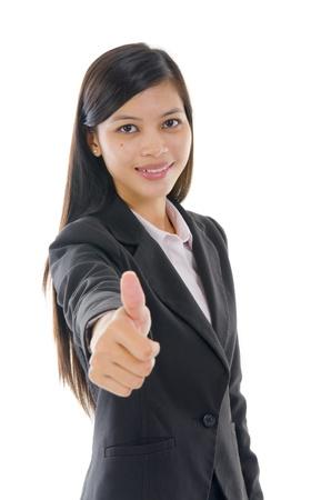 thumbsup: malay business woman thumbs up   Stock Photo