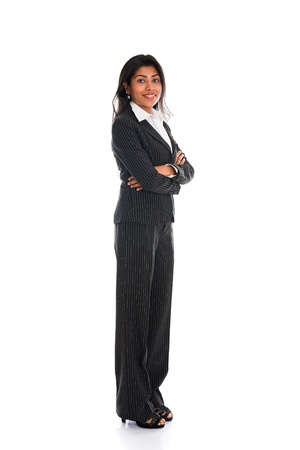 business woman standing: african american business woman isolated on white full body