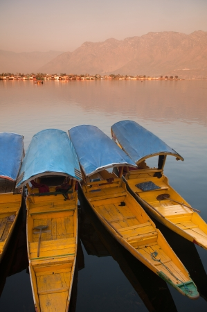 kashmir: Dal lake, the tourist attractive destination in northern India, Kashmir. People use Shikara for traveling and transportation in the lake Stock Photo