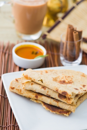 Indian flat-bread called chapati on plate photo
