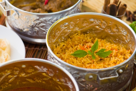 indian meal: Indian meal with biryani and curry