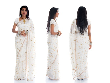 front side: indian female in traditional saree dress in various position full body