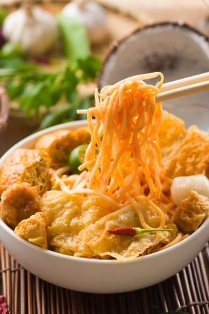 Singapore Curry Noodle with ingredients on background photo