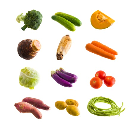 various organic growed vegetables isolated on white background
