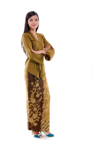 young muslim woman traditional kebaya on white background, full body photo