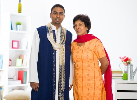 salwar: indian mother and son in the living room Stock Photo