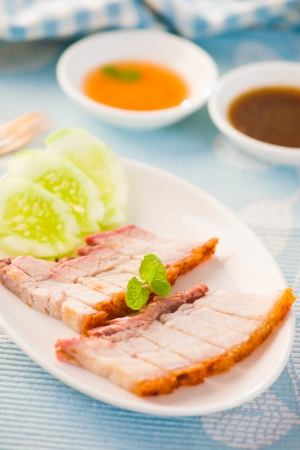 hoisin sauce:  Chinese roasted pork served with soy and hoisin sauce