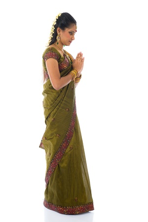 indian saree: traditional indian female giving greetings during diwali Stock Photo