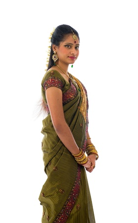 traditional indian woman in saree with white background photo