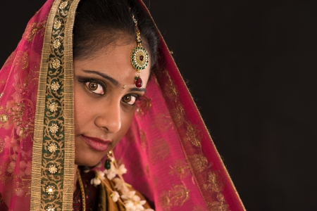 bollywood woman:  young south Indian woman in traditional sari dress