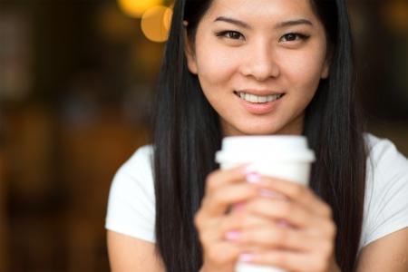 asian girl enjoying coffee in the morning lifestyle photo photo