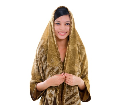 pan asian: young muslim woman with traditional dress on white background