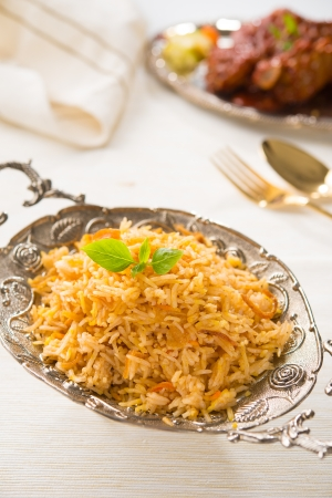 Indian biryani rice and curry with backgrounds photo