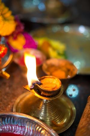 diyas: Diwali lamp with indian festival setup Stock Photo
