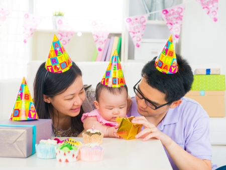 asian toddler: asian family celebrating baby full moon party