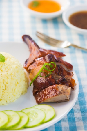 chinese dinner: chinese roast duck rice drumstick