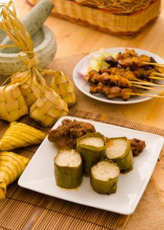 hari raya: malay hari raya foods lemang ,focus on lemang