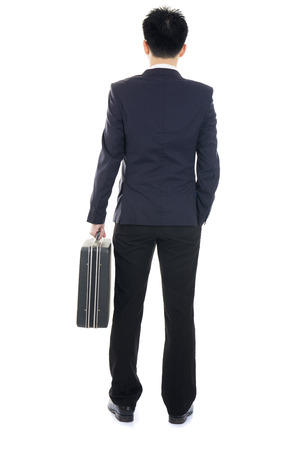 casual asian business man back view isolated on white photo