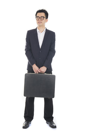 asian young business man with suitcase  photo