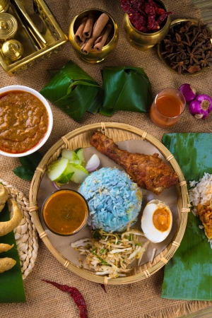 nasi: Traditional Malaysian food. Nasi kerabu is a type of nasi ulam, popular Malay rice dish. B