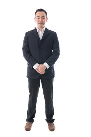 cuerpo entero: Retrato de cuerpo entero de feliz hombre de negocios de Asia. Foto de archivo