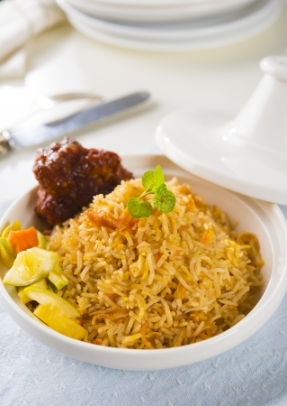 biryani: chicken biryani served with crockery