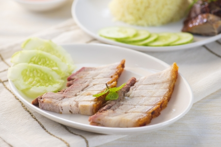 suckling: chinese roast pork belly with sauce Stock Photo