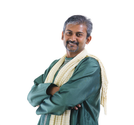 dhoti: Traditional Indian man crossed arm