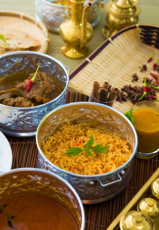 indian meal: Indian meal with curry and biryani