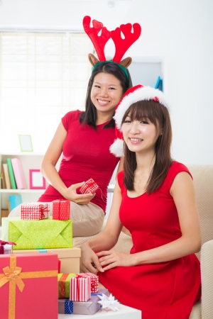 asian friend lifestyle christmas photo   photo