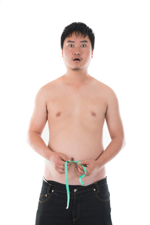 obesese shocked asian man in denial photo