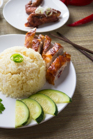 oriental cuisine: Chicken Rice on the background, asia food
