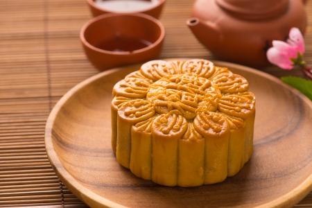 Mooncake and tea,Chinese mid autumn festival food.   photo