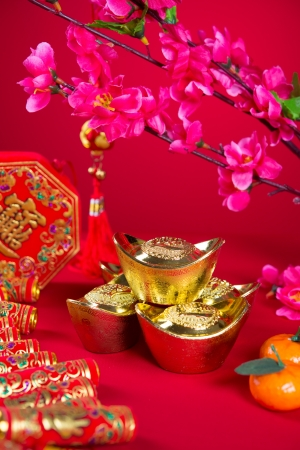 chinese new year decorations,generic chinese character symbolizes gong xi fa cai without copyright infringement photo
