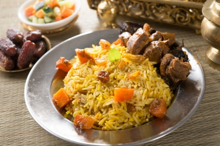 arab rice, ramadan foods in middle east usually served with tandoor lamb   photo