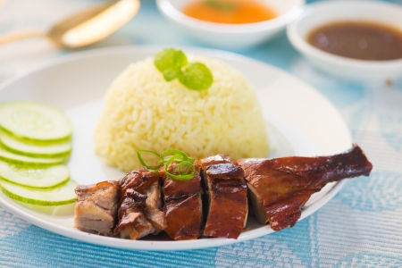 chinese dinner: BBQ duck over steamed rice   Stock Photo