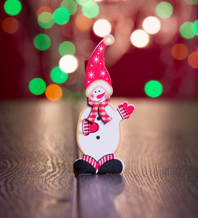 festoons: toy snow man with christmas gifts    Stock Photo